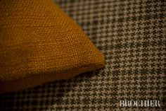 CAVALIERE & FORTEZZA #fabrics by BROCHIER Cavaliere: 100% linen, with a vintage appearance, hand and color, ideal for upholstery. Fortezza: principe di galles made of fabric with a rustic feel and very dry hand. Ideal for upholstery and curtains.