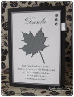 Trauerkarte Danksagung ★ Blatt ★ schwarz / grau von Kartenwunderland auf DaWanda.com