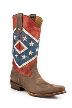 Roper® Ladies Square Toe Distressed Rebel Flag Boots