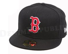 New Era 5950 BOSTON RED SOX Black Red White MLB Baseball Cap Fitted 59FIFTY Hat