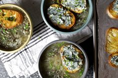 sweet vidalia onion wild rice soup with blue cheese crouton... sounds delicious