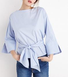 New Revival Blue Waist Tie Shirt