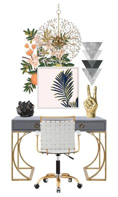 """""""Peace"""" by atarituesday ❤ liked on Polyvore featuring interior, interiors, interior design, home, home decor, interior decorating, Rifle Paper Co, Worlds Away, Hudson Valley Lighting and McCoy Design"""