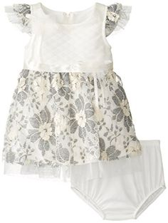 Bonnie Baby Girls Quilted Knit To Embroidered Lace Dress Ivory 24 Months -- Want to know more, click on the image.