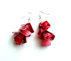 Long red earrings shiny made of recycled plastic bottle - upcycled jewelry