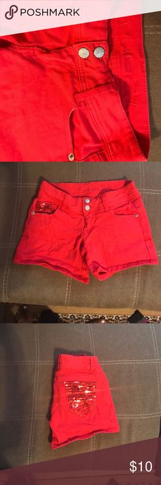Red HOT shorts!! Red HOT shorts with Sequin on the back pockets. Rue 21 Shorts Jean Shorts