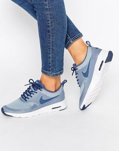 Adidas Women Shoes - Image 1 - Nike - Air Max Thea - Baskets texturées - Bleu et gris - We reveal the news in sneakers for spring summer 2017 Nike Air Max, Women's Shoes, Shoe Boots, Shoes Sneakers, Ladies Sneakers, Blue Sneakers, Leather Sneakers, Nike Leather, Blue Trainers