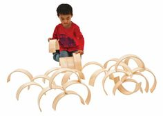 Set of natural wooden arches-Wooden arches are excellent for open ended and creative construction-Early childhood educational toys