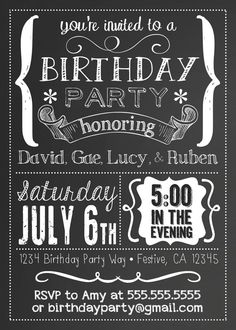 black and white party invitation | white party | pinterest | party, Birthday invitations