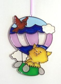ORNAMENT  Kitten In Balloon  Acrylic  Yellow by CreativeXpression1