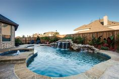 Gorgeous Pool with Spa, Waterfall, & Beach-style entry  -  www.11048Cardiff.com - Christie Cannon - 469-951-9588