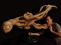 Kraken sculpture in wood African Design, Wooden Sculptures, Lion Sculpture, Kraken, Statue, Gallery, Rocks, Art, Roof Rack