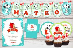 Kit Imprimible Snoopy Y Charlie Brown Decoración Cumpleaños Nene Baby Shower