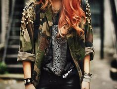 Studded oversized camo army jacket with leather trousers
