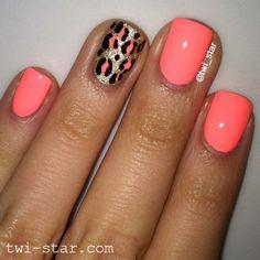 Incredible Pink Nail And Tiger Design Accent Nail Design