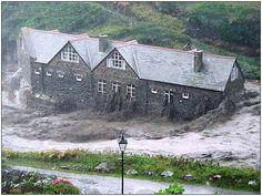 Boscastle Hostel A Bit Damp, Cornwall Floods 2004.