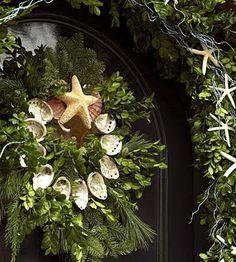 beach theme Christmas wreath and garland