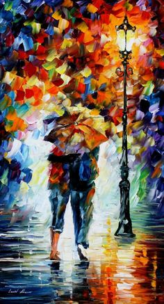 "Love!!   BONDED BY THE RAIN - PALETTE KNIFE Oil Painting On Canvas By Leonid Afremov - Size 20"" x 36"" (Auction ID: 102941, End Time : May. 24, 2012 19:57:26) - Afremov official online Art Gallery"