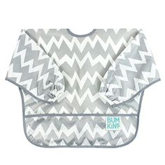 Bumkins Waterproof Sleeved Bib, Gray Chevron (6-24 Months...