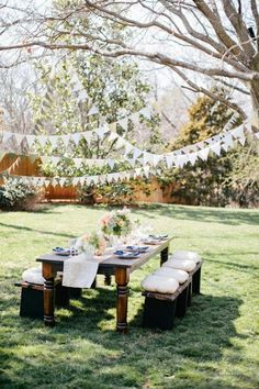 GARDEN PARTY Lovely open space, yet private. I love the streamers in the trees and the dappled shade and the cushions on the seats.Beautiful Garden Party Ideas www.Spring Inspired Photo Shoot from Jen Dillender Photography + Embellished WeddingsBeautiful Garden Party Decorations, Garden Parties, Garden Party Wedding, Outdoor Parties, Backyard Engagement Parties, Rustic Garden Party, Outdoor Events, Tree Decorations, In The Tree