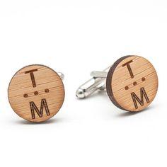 Wood Cufflinks with Vertical Monograms
