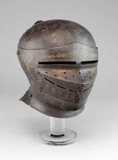 German or Austrian, possibly Innsbruck Close Helmet, 1510 Steel and paint H.) George F. Ancient Armor, Medieval Armor, Fantasy Inspiration, Character Inspiration, Knights Helmet, Early Modern Period, Landsknecht, Knight In Shining Armor, Historical Artifacts