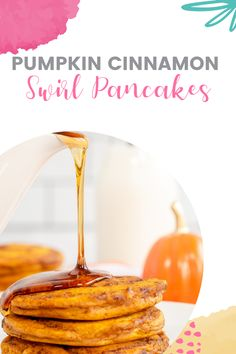 These Pumpkin Cinnamon Swirl Pancakes are filled with a cinnamon sugar swirl and delicious fall flavors! Best Pumpkin, Pumpkin Pie Spice, Cinnamon Swirl Pancakes, Healthy Protein Pancakes, Fun Food, Yummy Food, Homemade Muffins, Easy Smoothies, Pancakes And Waffles
