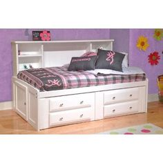 Bright White Rustic Pine Twin Size Big Bookcase Storage Bed with Built-in Storage Drawers & Bookcase Headboard Shelves Made in the U. Twin Bed With Drawers, Bed With Drawers Underneath, Bed Drawers, Toddler Bed With Storage, Twin Storage Bed, Drawer Storage Unit, Bookcase Storage, Bookcase Bed, Bedroom Furniture Stores