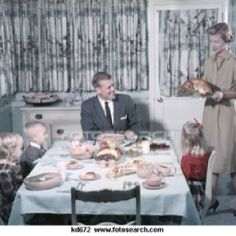 The whole family sat and ate meals together. No eating in front of the TV.  In fact no food allowed in the living room.