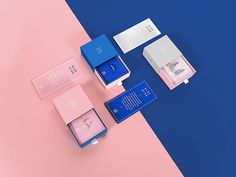 blue bird jewelry / branding + identity design + print + packaging + blue and pink