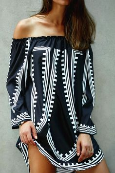 $14.02 Off-The-Shoulder Printed Loose Fitting Dress
