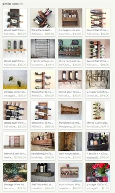 Lots of 'Nice' Wall Wine Rack FINDS here... https://www.etsy.com/listing/266035045/similar