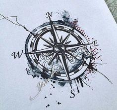 Compass tattoo, tattoos и sleeve tattoos. Nautical Compass Tattoo, Compass Drawing, Compass Art, Compass Rose Tattoo, Simbols Tattoo, Dog Tattoos, Tattoo Fonts, Tatoos, Wave Tattoo Design