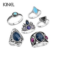 Vintage Jewelry 6Pcs/Sets Midi Rings For Women 2016 Fashion Plating Silver Bohemia Finger Joint Ring