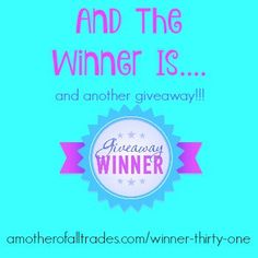 The Thirty-One Raffle winner is in! And there is a new giveaway in town! Enter…