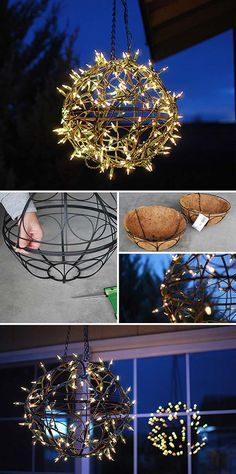 Diy String Light Chandelier Build A Art Globe For Your Patio Lamp Shade Ideas . diy vanity mirror with lights light fixture ideas. diy light fixtures using repurposed objects pendant. Rustic Lamp Shades, Modern Lamp Shades, Ceiling Hanging, Diy Hanging, Ceiling Fans, Hanging Basket, Hanging Lights, Christmas Ceiling Decorations, Hanging Decorations