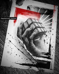 #эскиз #sketch #тату  #трешполька #trashpolka #tattoo #tattooartist #tattoosketch #realistictrashpolka #кубик #рубика