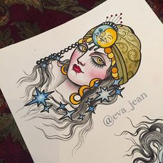 More watercolors...thanks for looking #gypsy #celestial #tattoo #flash #ladytattooers #evajean
