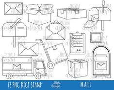 50 SALE MAIL Digi Stamp Post Office Stamps Commercial Use Happy Mail Clipart Black Lines Package Images