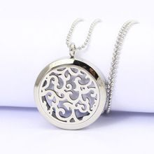 Round Silver Diffuser Lockets Aromatherapy Essential Oils Stainless Steel Perfume Diffuser Locket Necklace 30mm
