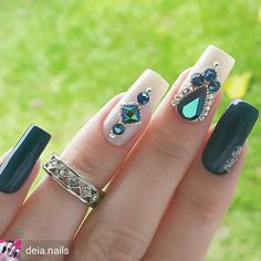 Unhas artísticas, unhas decoradas, unhas com pedras e adesivos de unhas Glam Nails, Bling Nails, 3d Nails, Love Nails, Beauty Nails, Fabulous Nails, Perfect Nails, Gorgeous Nails, Pretty Nails