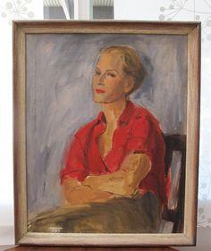 Beautiful Vintage 1960 Portrait  Oil Painting by Kringol-Spector. $230.00, via Etsy.