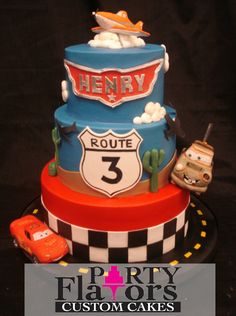 Cars birthday cake by Party Flavors Custom Cakes.