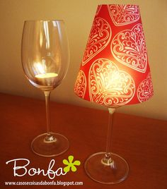 Turn wine glasses into candle lamps. The blog has a pattern for the lampshade too. Easy, customizable, inexpensive and a nice way to dress up a table or room for a party. LOVE!