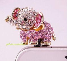 Bling Crystal Phone Case Beauty Accessary - 1PC Crystal Animal Elephant Earphone Cap Anti Dust Plug for iPhone 5 & 4 galaxy s3 i9300 case