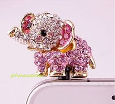 Bling Crystal Phone Case Beauty Accessary - 1PC Crystal Animal Elephant Earphone Cap Anti Dust Plug for iPhone 5 4 galaxy s3 i9300 case