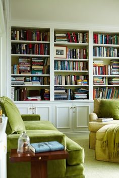 Like the bookshelves, not the green couches so much.  Maybe have them in a dark grey or another neutral colour.