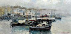 Briante Ezelino (Napoli 1901 - Roma 1971) Marina olio su tela rip. su tavola, cm 25x49,5