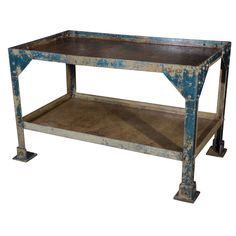 France  1930  Antique French Iron Industrial Shop Table in Original Paint Patina. 4.5' x 28D x 34W
