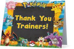 Folded Pokemon Thank You Card Birthday Thank You Cards, Printable Thank You Cards, Themes Free, Customer Service, Pokemon, Thankful, Digital, Prints, Customer Support